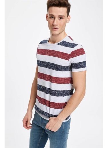 DeFacto Çizgili Slim Fit Kısa Kollu T-shirt Bordo